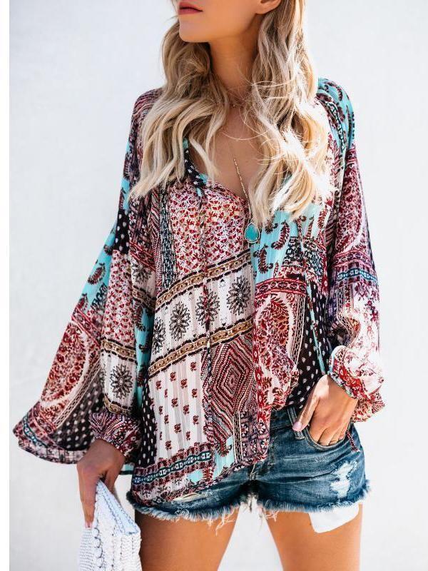 UK Women Long Sleeve Boho Blouse V Neck Casual T Shirt Oversized Top Plus Size