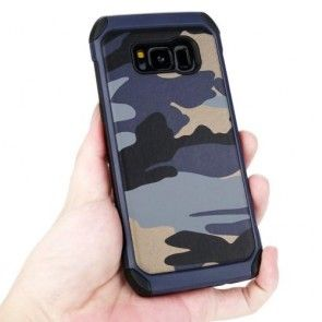 Carcasa Samsung Galaxy S8 PLUS G955, Silicon + Plastic, Culoare Albastru Inchis