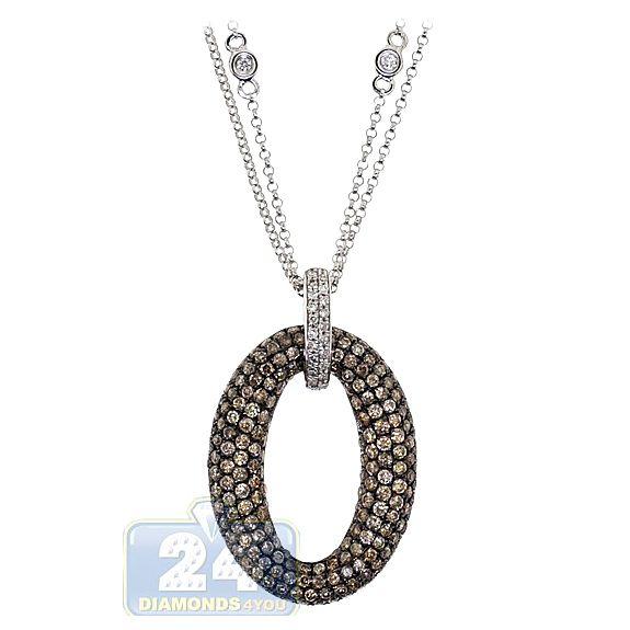 Womens 2 40 Carat Brown Cognac Diamond Open Design Oval Shaped Pendant 14k White Gold Cognac Diamonds White Gold Oval Pendant
