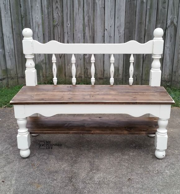 make a twin headboard bench out of an old bunk bed. A sweet little bench like this is perfect for a mud room or entryway. Step by step tutorial.