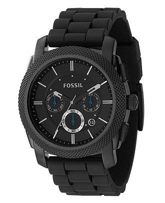 Fossil Watch, Men's Chronograph Machine Black Silicone Strap 45mm FS4487 - Men's Watches - Jewelry & Watches - Macy's - online watches for mens, mens watches deals, mens gold watches
