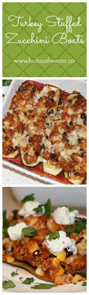 Turkey Stuffed Zucchini Boats. A Healthy and delicious way to enjoy dinner any night of the week! This recipe and more can be found at www.fuchisafreezer.ca