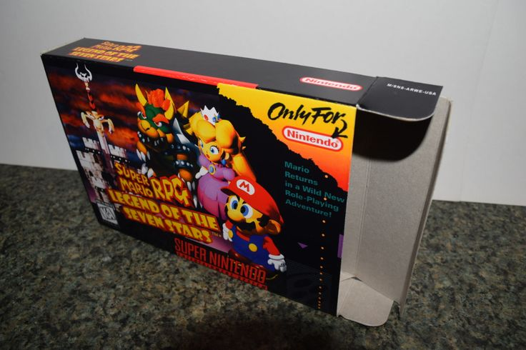 This is a reproduction box for the Super Nintendo game Super Mario RPG: Legend of the Seven Stars. All of my boxes are made from the same gray board as the original boxes and are exactly the same size as the originals. These are the best reproduction boxes in the world, no one else is even close. Other sellers use a white card stock to make their boxes and most have the seam for the box at the top of the front cover. Just like the originals, mine have the seam at the bottom of the back side…