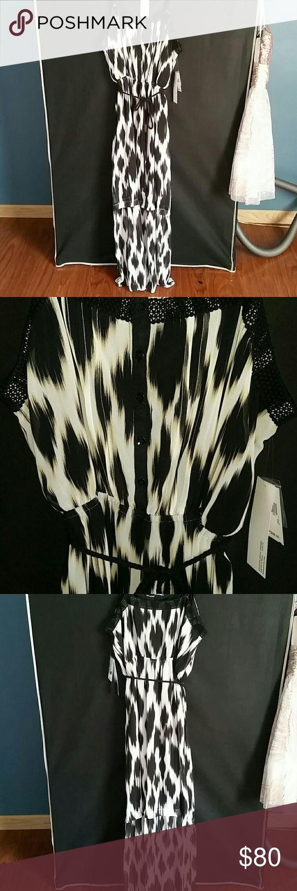 Long Maxi summer dress Black, white and beige summer dress Kensie Dresses Maxi