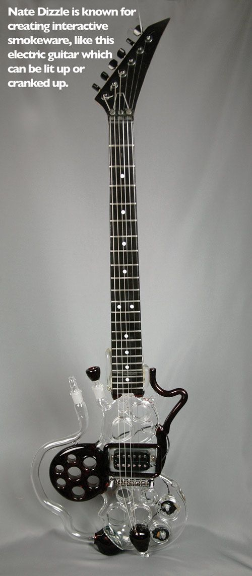 Glass Guitar Bubbler by Nate Dizzle ( marijuana cannabis ) http://www.pinterest.com/thathighguy
