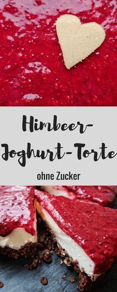 Himbeer-Joghurt-Torte ohne Zucker - nur mit Himbeer und Vanille gesüßt Es iste einfach eine leckere zuckerfreie Torte selber machen! #zuckerfrei #ohnezucker #ungesüsst #nobake #torte #geburtstagskuchen #himbeertorte #joghurttorte