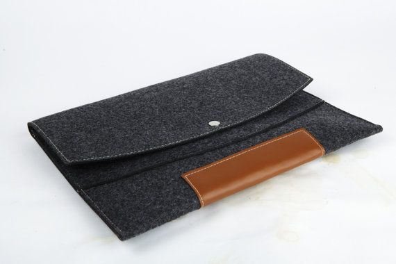 Macbook pro 13 Macbook Sleeve Case  brief Wool Felt Custom Made Felt Case Sleeve Cover Bag With Strap for Macbook