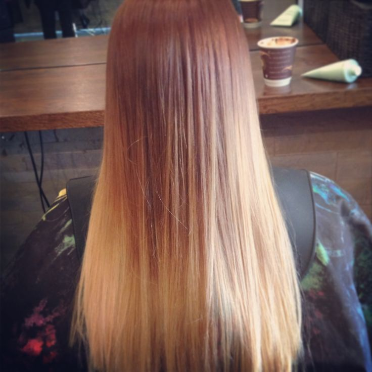 Copper and blonde belliage straight after adding more blonde to tones