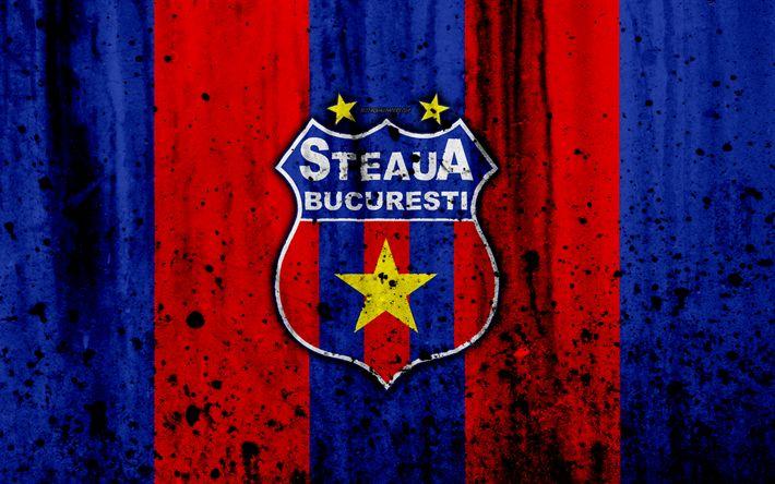 Download wallpapers 4k, FC Steaua Bucuresti, grunge, Romanian league, Liga I, soccer, football club, Romania, Steaua Bucuresti, logo, stone texture, Steaua Bucuresti FC