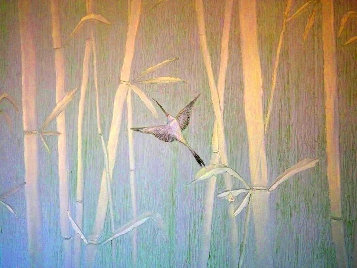 Бамбук из декоративной штукатурки (пано). Bamboo from plaster (mural).