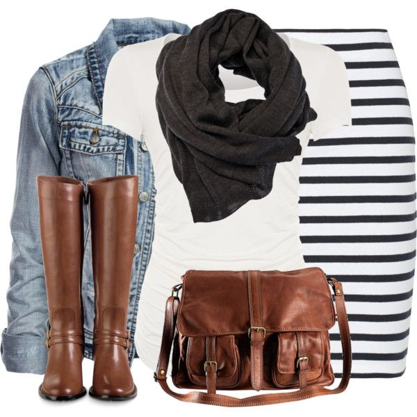 Stripe Skirt and Denim Jacket :)