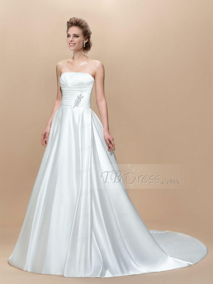 Botão Strapless elegante lantejoulas Zipper-Up Tribunal Trem Vestido de Noiva: Tbdress.com