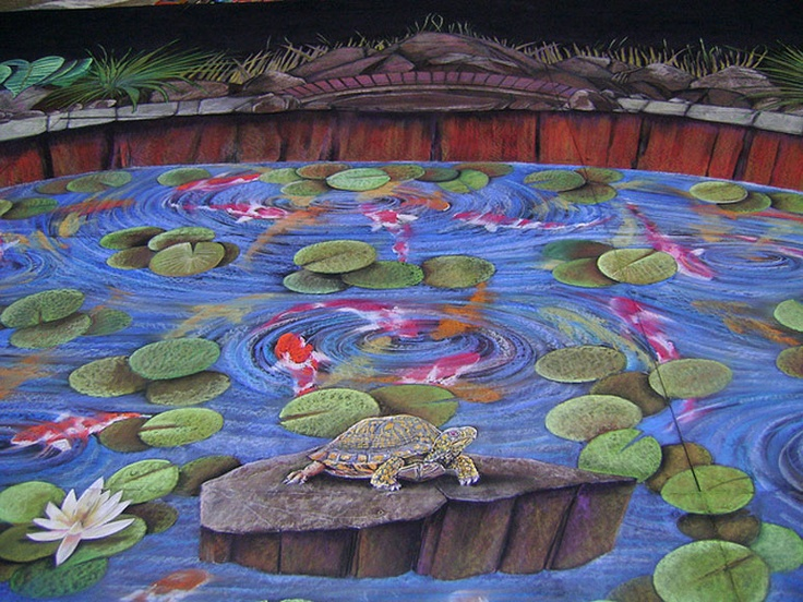 1000 images about koi on pinterest water ripples for Koi pond art