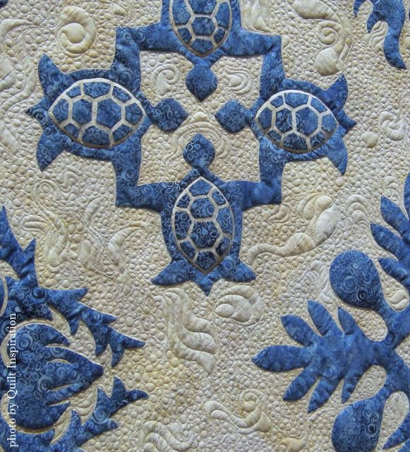 """""""Blue Hawaii"""" by Sue Green, California. 2015 PIQF.  Closeup photo by Quilt Inspiration."""