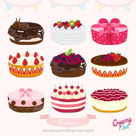 Birthday Cake Digital Vector Clip Art Wedding Cakes Digital Clipart Design Illustration Pastry S Cake Illustration Cake Drawing Cool Birthday Cakes