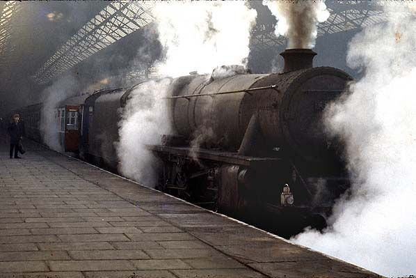 The last scheduled steam-hauled passenger trains on the British Railways' network ran between Liverpool Exchange and Preston in July and into August 1968. By that time the motive power tended to be in a poor condition, as illustrated by this Class 5MT (Black 5) at Liverpool Exchange heading a Glasgow train during the last days of steam. The steam locomotive would have hauled the train only as far as Preston where a diesel would take over. Photo by Chris the Edge Hill signalman from his…