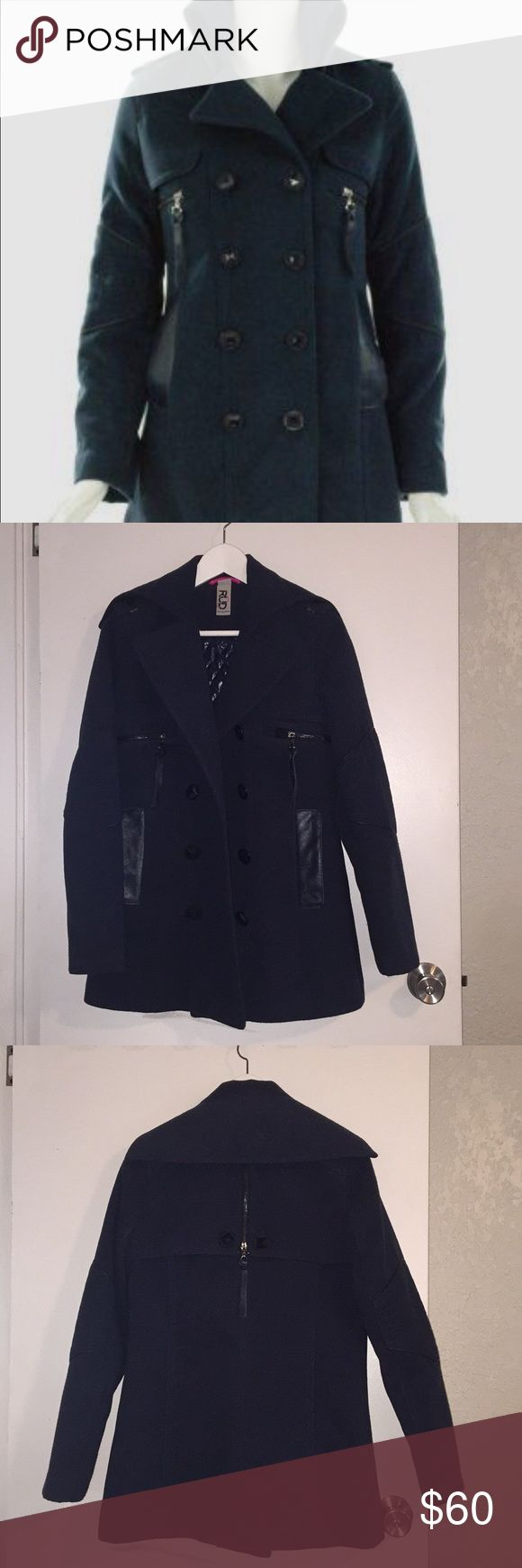 RUD by Rudsak Navy Pea coat (small) EUC This beautiful EUC Navy Pea Coat is practically brand new only worn a few times. It's a size small, I wear a size 4 dress and fits comfortably. No flaws. Lots of pockets and cute details. Feel free to make me an offer 🤗 RUDSAK Jackets & Coats Pea Coats