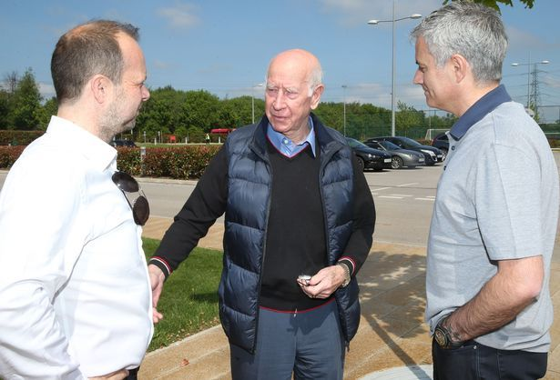 Jose Mourinho with Sir Bobby Charlton and Ed Woodward