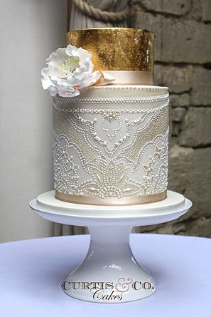 Wedding cake ideas - gold foil and cream cake with lace detail. Tiered Cake Gallery | Curtis & Co Cakes | Award Winning Wedding Cakes