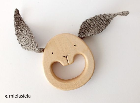 En bois jouet de dentition dentition Baby Toy - anneau de dentition en bois - jouet de bébé bio - lapin - lapin oreille