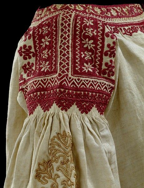 I love the red silk embroidery on linen. Beautiful work. Andalusia, 1800-1900 made. V
