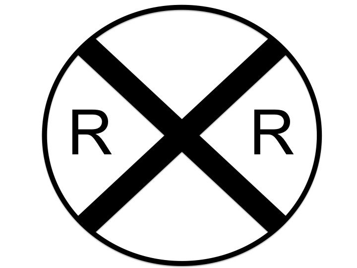 Railroad Crossing Sign Black And - 25.5KB