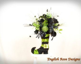 Elegant Black Witch Boot Centerpiece by englishrosedesignsoh