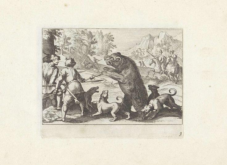 Anonymous | Berenjacht, Anonymous, Antonio Tempesta, Claes Jansz. Visscher (II), 1624 | In een bergachtig landschap jagen honden en jagers op beren. Op de voorgrond hebben jagers en hun honden een beer ingesloten.