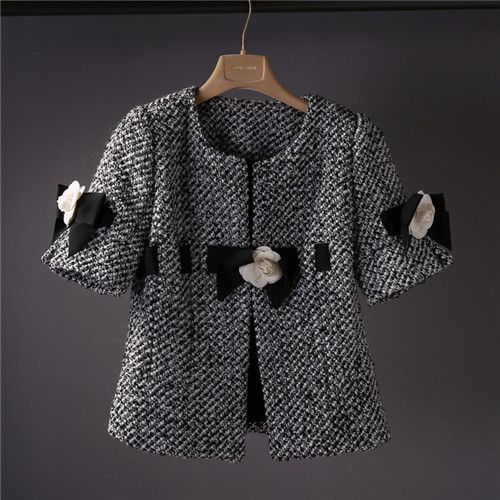 luxury brand jacket women new women cc coat white flower tweed coat elegant ladies outerwear runway top quality short sleeve 80s US $51.00 To Buy Or See Another Product Click On This Link  http://goo.gl/yekAoR