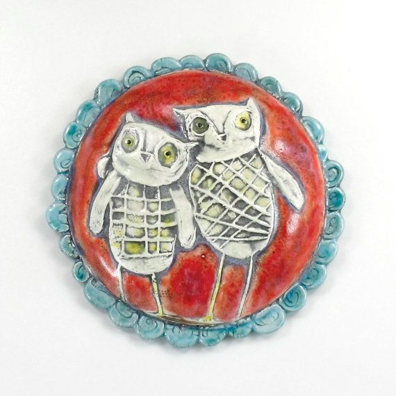 """This ceramic Owl Portrait wall hanging sculpture is an original Hadley Clay Studio """"Wall Flower"""" design! It brings a contemporary, durable, and fun style to your home. $22.00"""