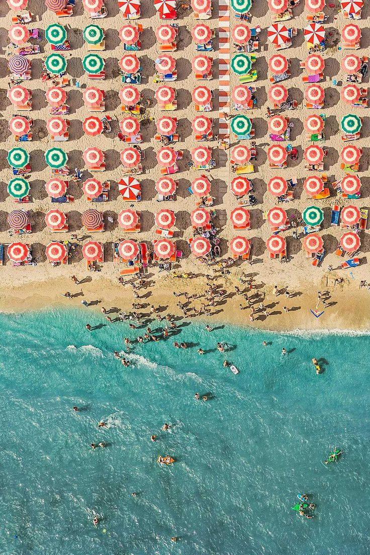 Bernhard Lang, Adria VI, 2014 / 2015 © www.lumas.com - #Rows and rows of #sunshades. Bathers playing in the water. Children building sandcastles, and people dozing in the heat. Life on the beach is the theme of Bernhard Lang's work. #Summer #Summertime #photograph #Aerial #Photography #Aerial #Beach #Beaches #Birds eye #view #blue #Coast #colorful #Europe #Holiday #Holidays #Italy #Ocean #Panoramas #Parasol #People #Sand #Summer #sunny #Tourist #Lumas LiberationOfArt