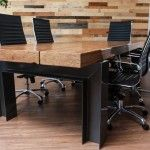 Renovation material used to make a beautiful conference room table...H-Beam and Paralame wood