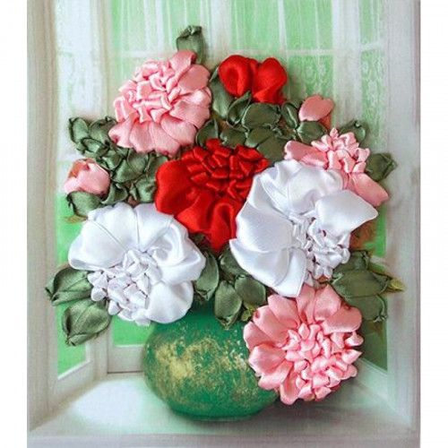 Ribbon Embroidery Kit Flowers DIY Hand embroidery Wall decor