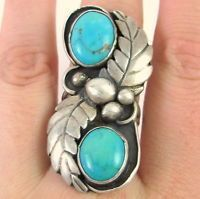 JERRY BEGAY Vintage Navajo Handmade Sterling Silver Turquoise Ring Sz 7.75 | J R #925SterlingSilver