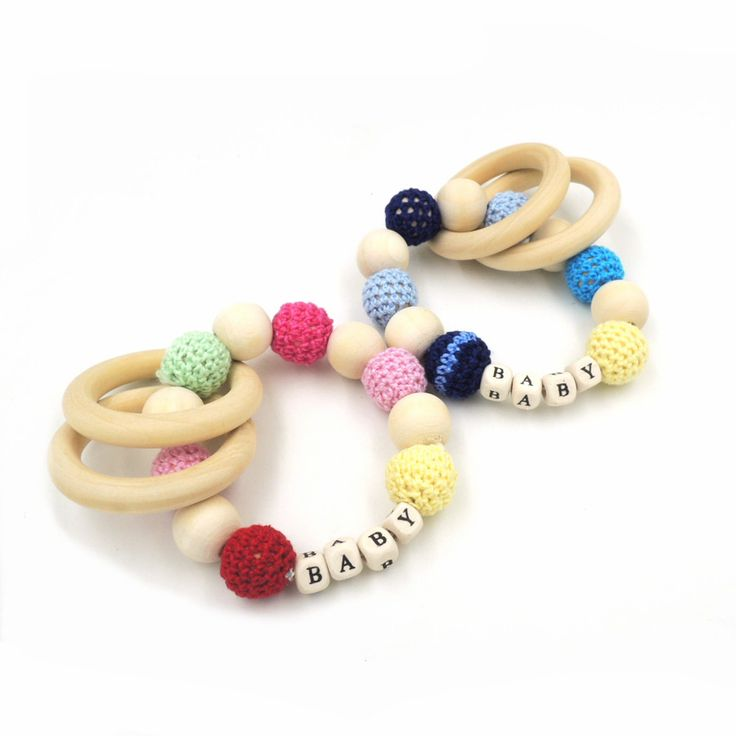Baby Teething Toy Wooden Teether Rainbow Teether wood Bead Teether Teething Jewelry Wooden Teething Ring ET83