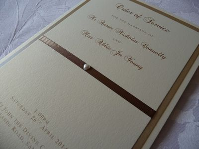 Stunning Gold And Ivory Styled Wedding Order Of Service Book For A Church