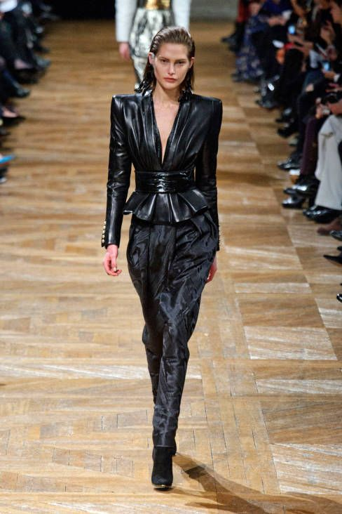 Leather peplum jacket at Balmain Fall 2013 #runway #fashionweek