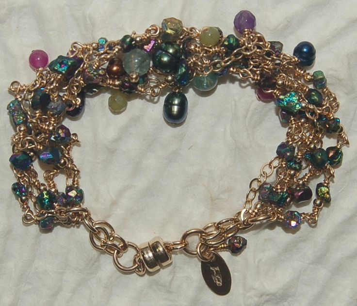 Six strand 14kg filled wire wrapped semi precious citrine stone nugget luster beads, jade, amethyst, apatite and fresh water pearl bracelet by jancashdesigns1 on Etsy
