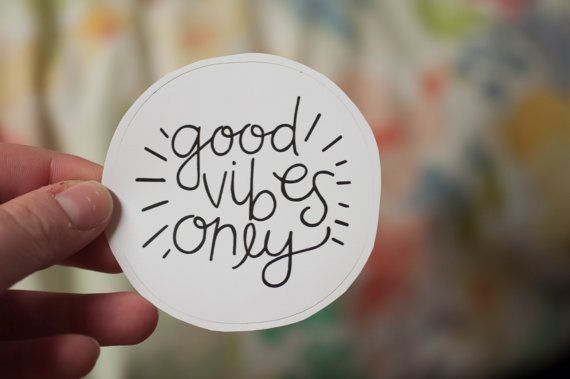 Good Vibes Only Round Decal: Laptop Sticker
