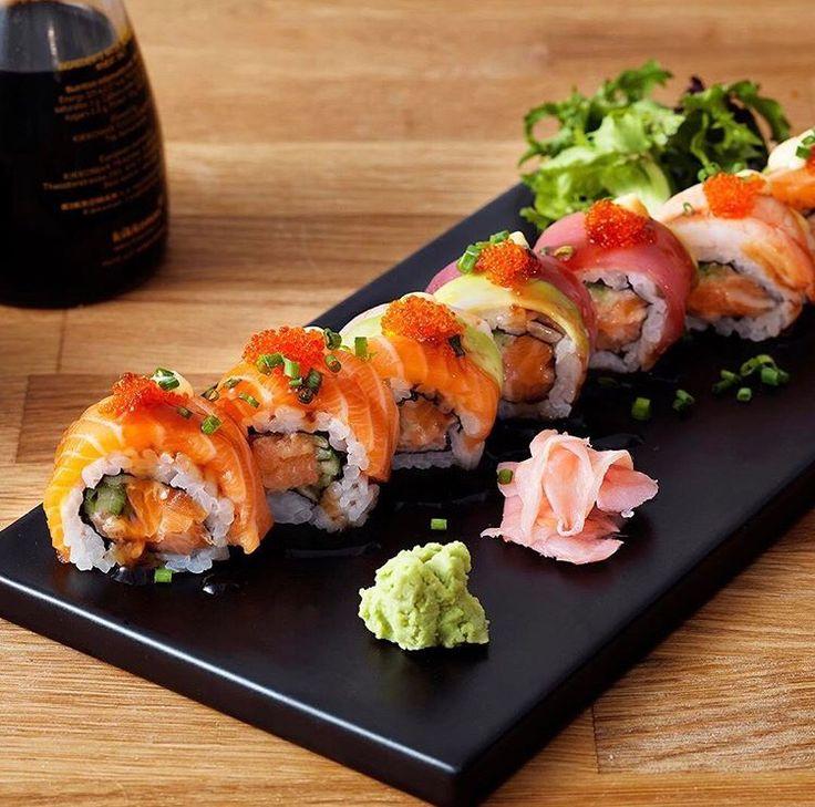 Dinner Cravings Spicy Rainbow Roll by YouMeSushi | Follow Make Sushi for more sushi & go to www.makesushi.com/?utm_content=buffer29903&utm_medium=social&utm_source=pinterest.com&utm_campaign=buffer