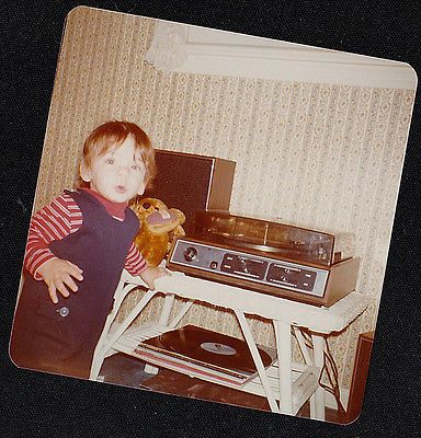 Old Vintage Photograph Adorable Little Boy Standing By Vintage Record Player