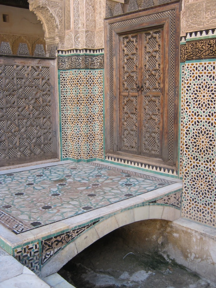 Islamic motifs are mainly geometric and mathematical. In Arabic countries a distinctive decorative style called zillij uses purpose-made ceramic shapes that are further worked by hand to allow them to fit together perfectly to cover a surface.  The practice of zillij dates back to the 11th century. The lines of Moroccan geometry are straight as opposed to the curved lines used in Middle Eastern art traditions.