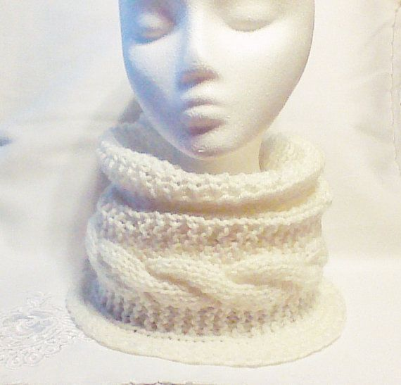 White Hand Knitted Cowl Hand knit Infinity scarf by HandmadeTrend, $25.00