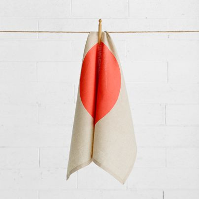 Loved this Big Spot Tea Towel Neon Coral-Aura Home