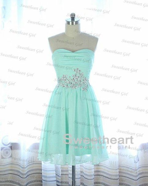 Light Blue A line Chiffon Sequined Short Prom Dress, Homecoming from Sweetheart Girl
