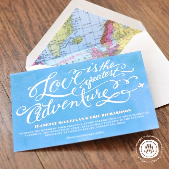 "Travel Theme Calligraphy Wedding Invitation. ""Love is the greatest adventure."" with map lining. By Margot Madison Creative"