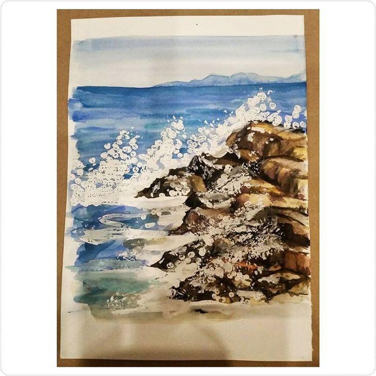 «#watercolorpainting #watercolor #landscape #акварель #рисовашки #рисунокакварелью #рисунок #ярисую #рисовашки #instaart #sea #crashingwaves #seascape»