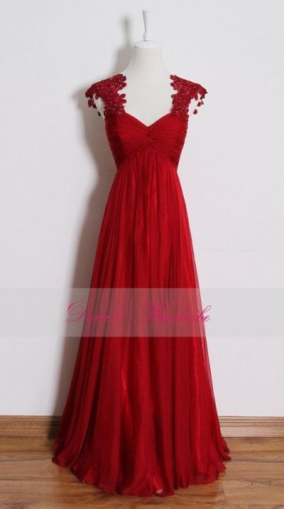 Red lace prom dress,long empire waist bridesmaid dresses,pregnant dress,cocktail dress,evening dresses,wedding party dresses,custom made