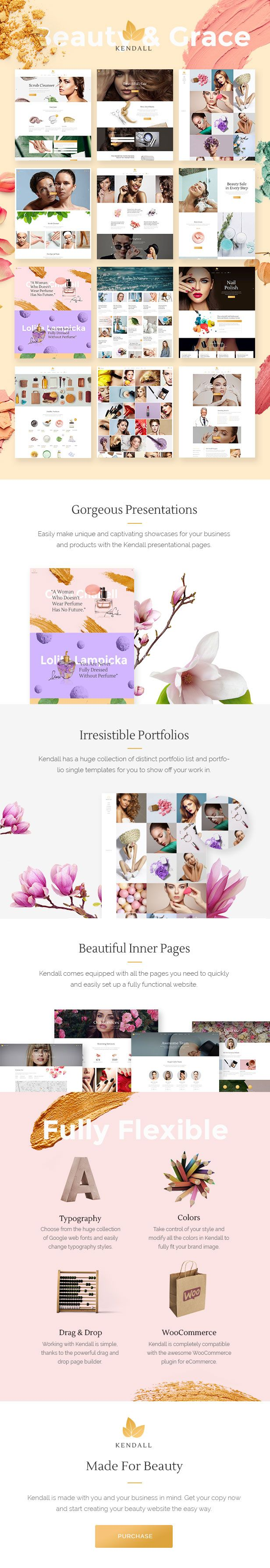 Kendall - A Stylish Theme for Spa, Hair & Beauty Salons #wordpress #cosmetics #makeup • Download theme ➝ https://themeforest.net/item/kendall-a-stylish-theme-for-spa-hair-beauty-salons/18601371?ref=pxcr