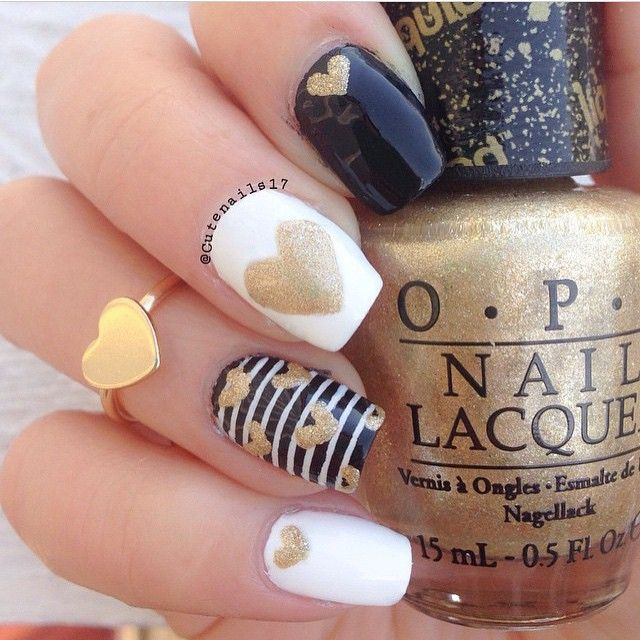 Black and gold love nails